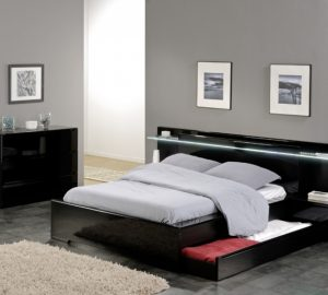 Savoy Black Gloss Headboard Light storage bed