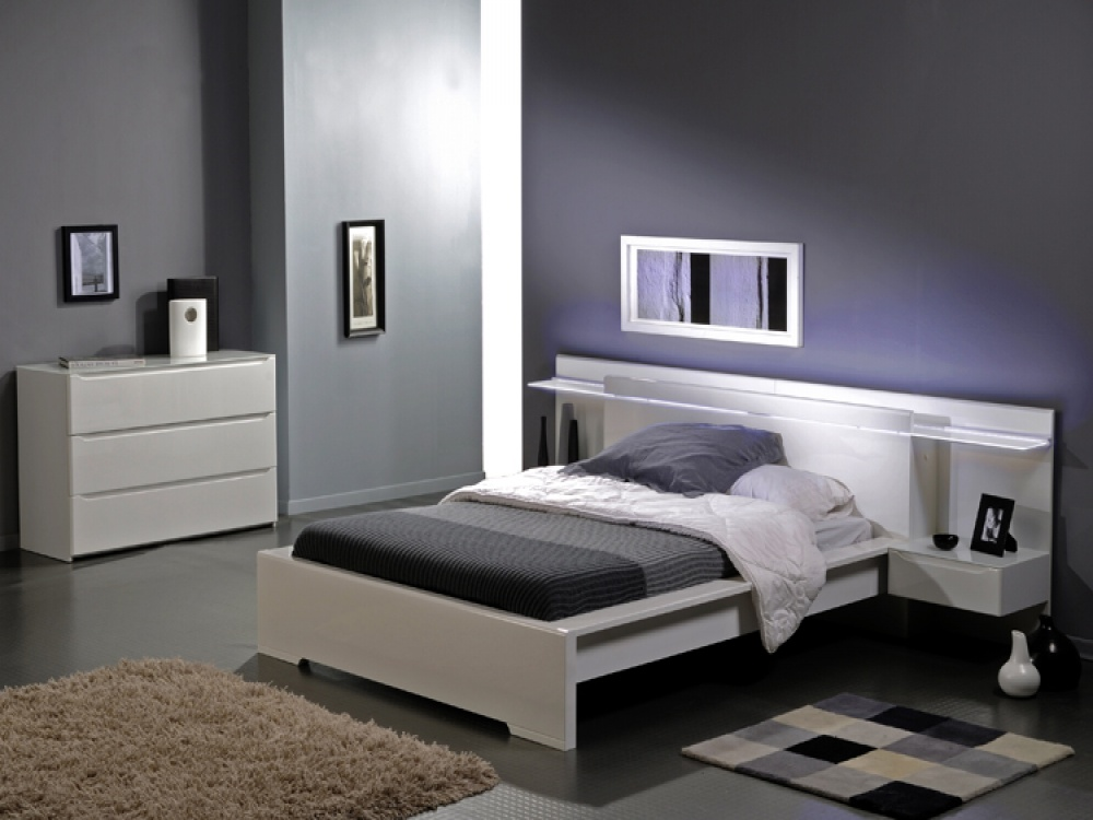 Savoy white gloss headboard light bed