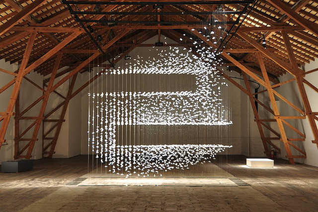Suspended Feather Installation Artwork by French Artist Isa Barbier