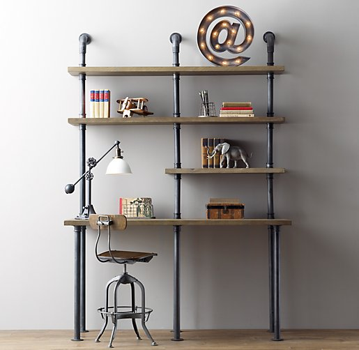 industrial pipe single desk & shelving - Restoration Hardware Baby & Child