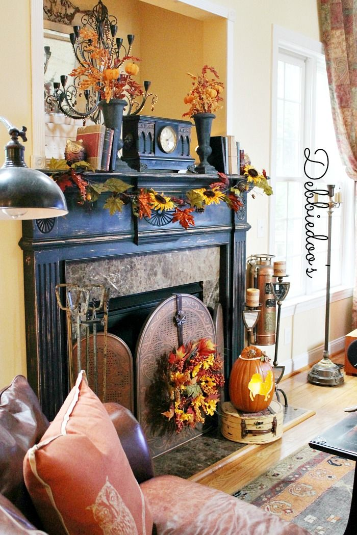 Fall mantel 2013. Decorating with sunflowers, pumpkins and owls - Photo by debbie-debbiedoos.com