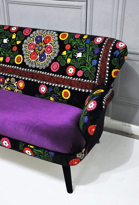 Patchwork sofa with Suzani fabrics