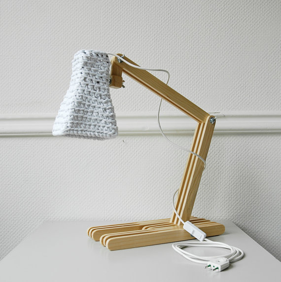 Wooden Table Lamp KUUBO with Crochet Shade / Modern Desk Light / Unique Eco Lamp / Neutral Design: Wood & Cotton