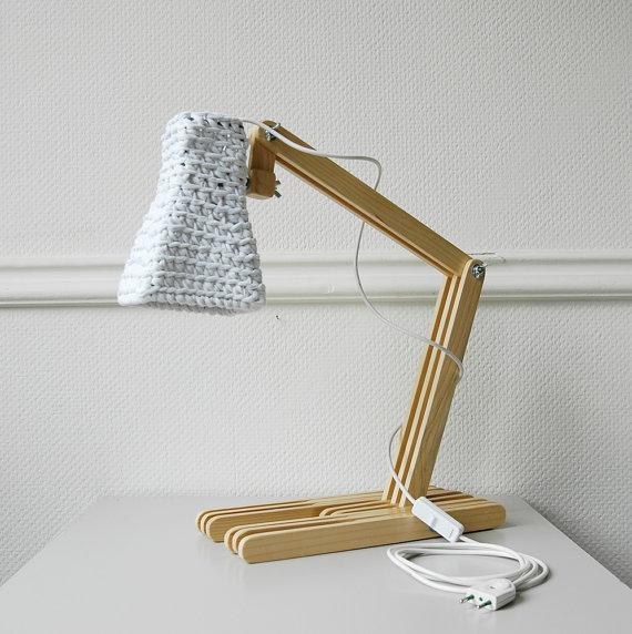 Wooden Table Lamp KUUBO with Crochet Shade / Modern Desk Light ...