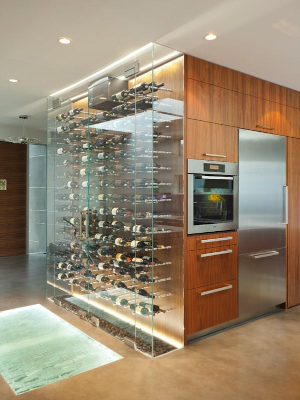 10 incredible modern kitchen designs for Wine rack in kitchen ideas