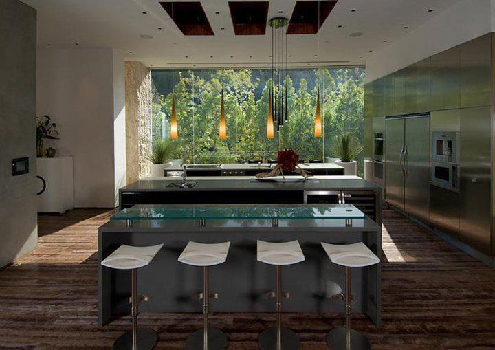 Sleek modern kitchen with stools