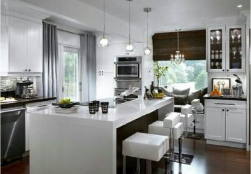 White worktops in modern kitchen