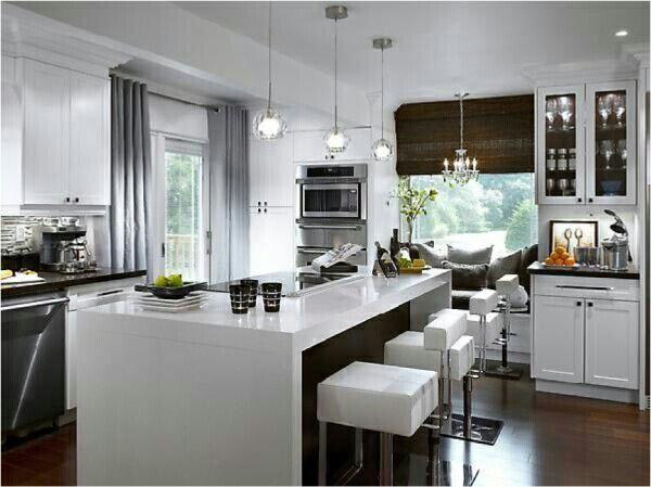 White worktops in modern kitchen