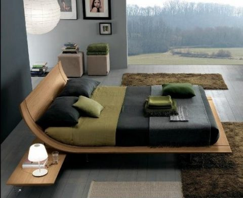Presotto Aqua bed in fine textured walnut wood - robinsonsbeds.co.uk