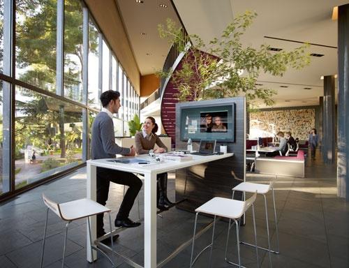 Break area with computer screen