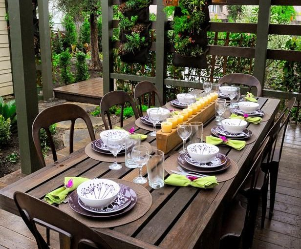 Wooden outdoor dining table area