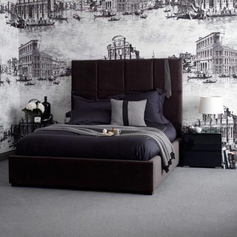 Belvedere Upholstered Bedstead - Charcoal