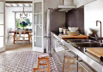 Kitchen with beautiful floor tiles