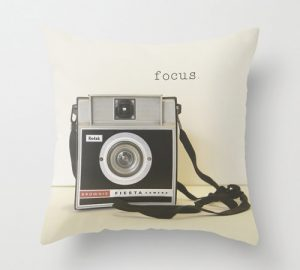 Pillow Cover, Vintage Camera Focus For the Photographer Black White Brownie Camera Geekery, Retro Style Living Room Decor