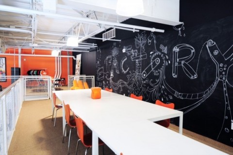 Creative office with blackboard