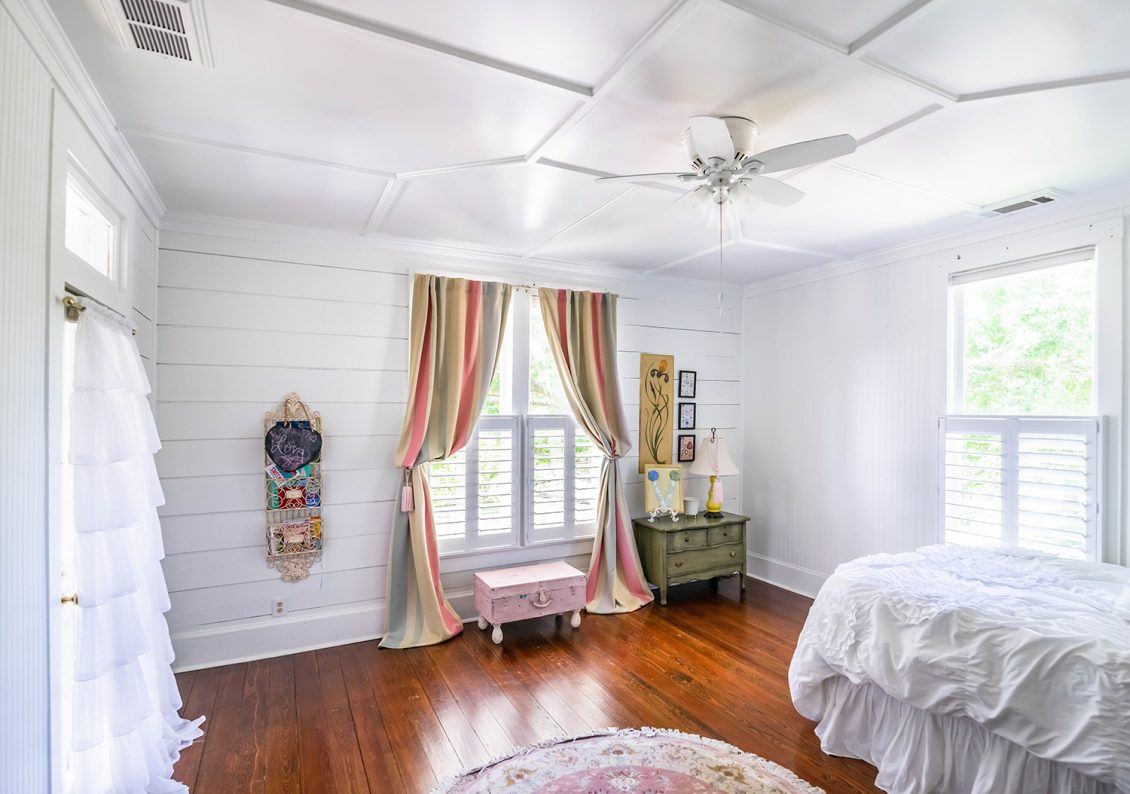 White Bedroom With Plantation Shutters