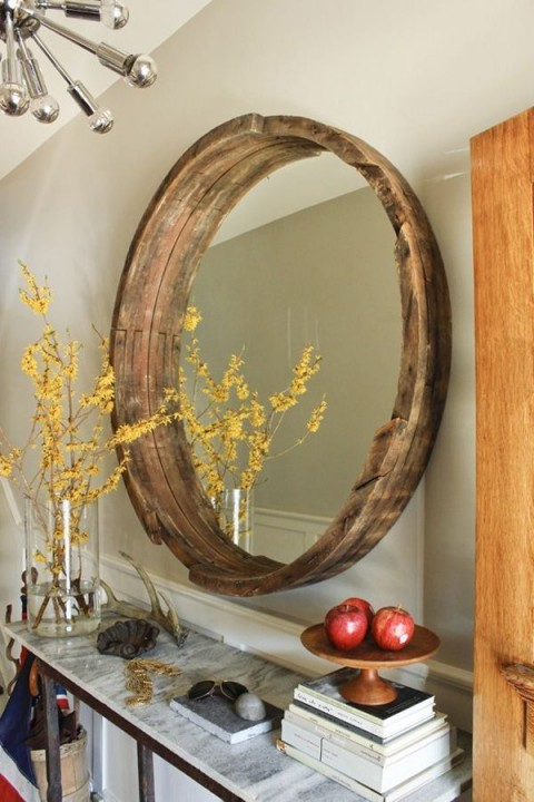 DIY wine barrel mirrors - Photo from rowhousenest.com