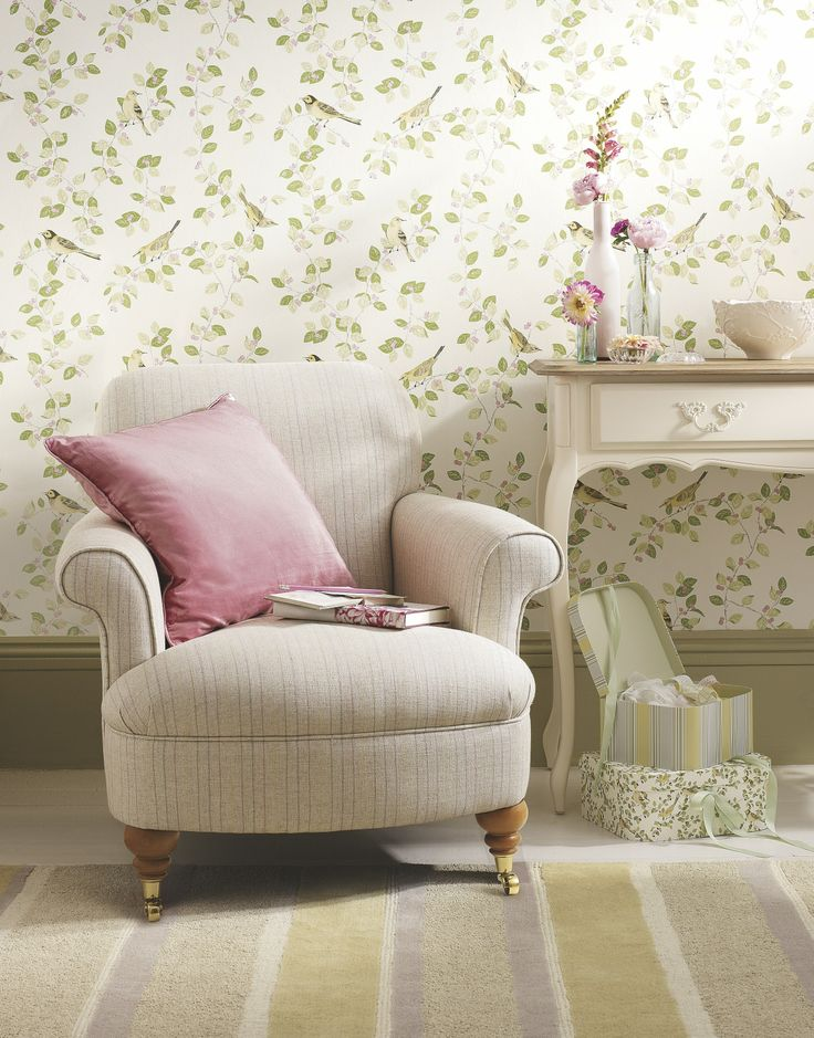 Chair And Table With Floral Wallpaper Background Part 57