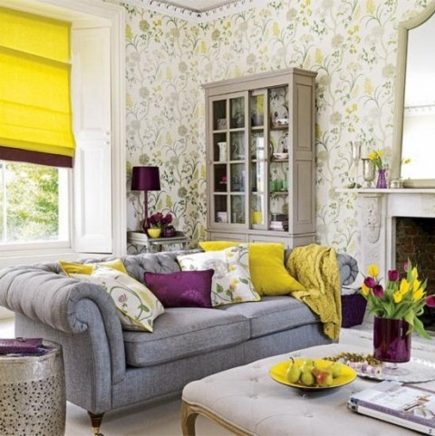 Bright yellow and purple, with muted greys and floral in the background