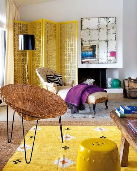 Shabby chic living room with yellow rug