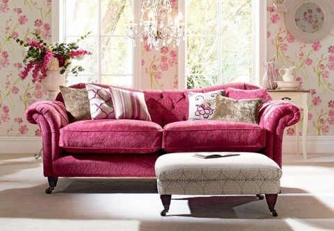 Pink sofa with flowers and floral wallpaper - From Plumbs.co.uk