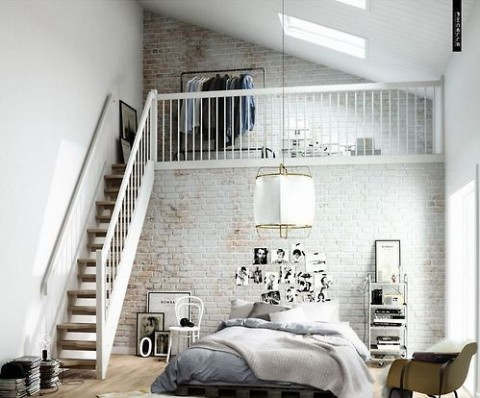 Bedroom with upper space