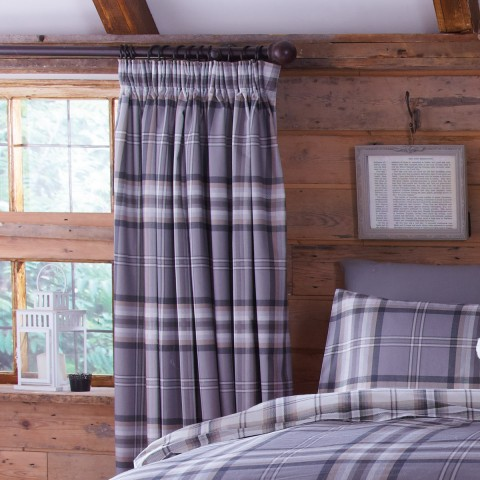 Kelso Charcoal Grey Check Curtains