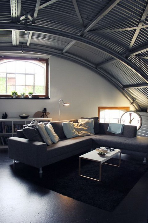 Curved roof living room