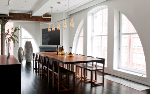 Dining table with large windows