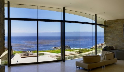 Floor to ceiling curved windows
