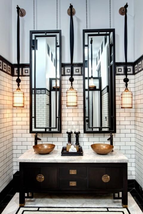 Unusual but stylish vintage-inspired bathroom - Found on mydesignchic.com