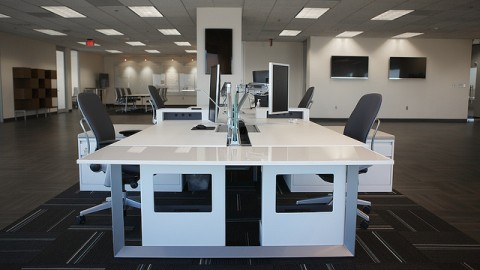 White office desk and chairs