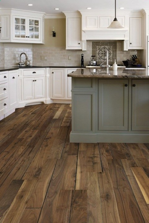 Kitchen with wooden flooring