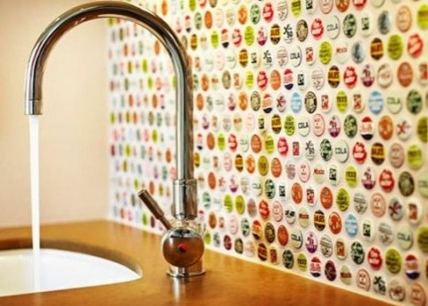 Bottle cap wall and sink in kitchen