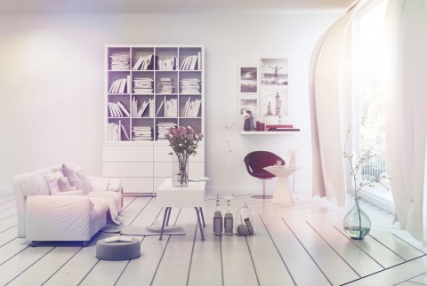 Bright airy white living room interior