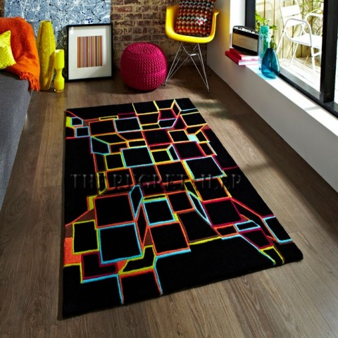 Hong Kong black multi rug