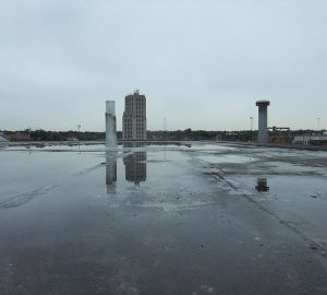 Ponding on flat roof - Photo by crowbert
