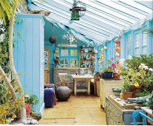 Blue Rustic Beach Cottage Conservatory