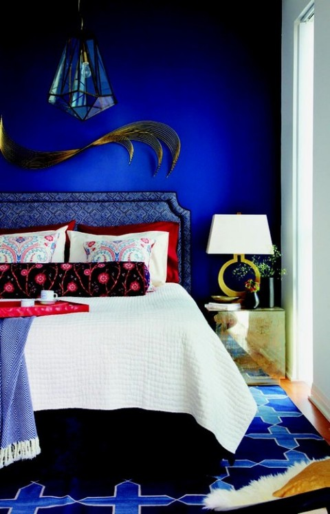 Feminine Bedroom With Gloss Blue Painted Wall