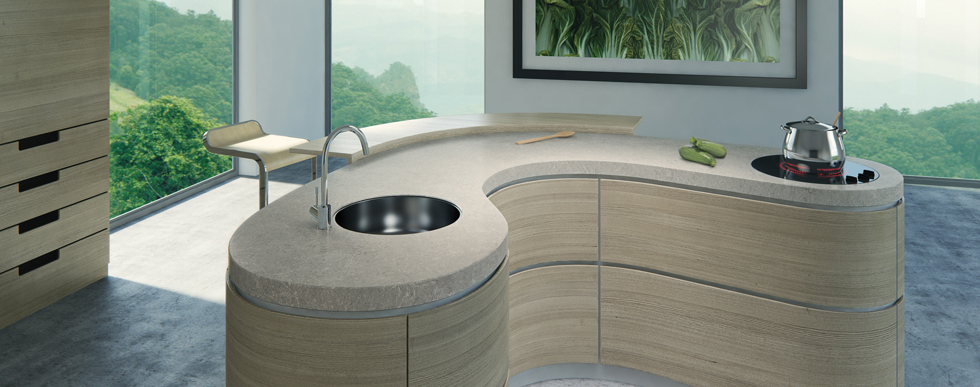 Curved Caesarstone Worktops