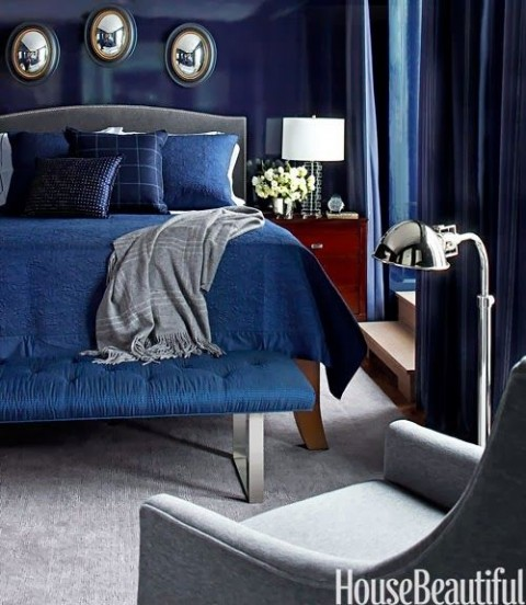 Blue Bedroom With Blue Gloss Walls