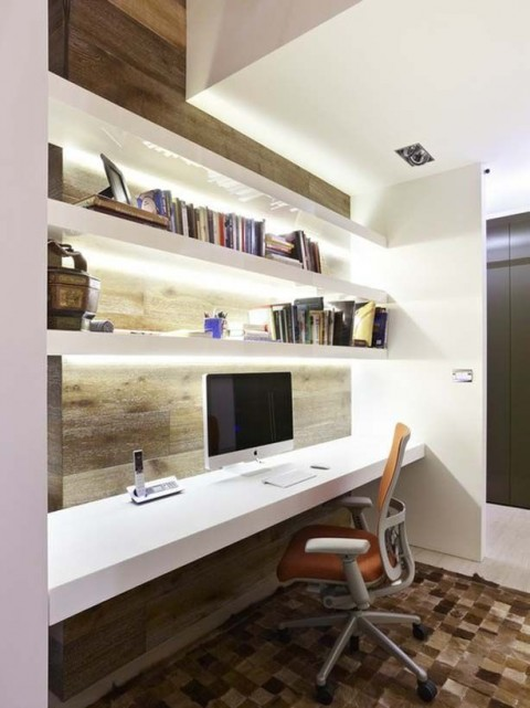 Home office with white desk