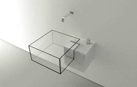 Stylish Designer See-through Glass Square Sink