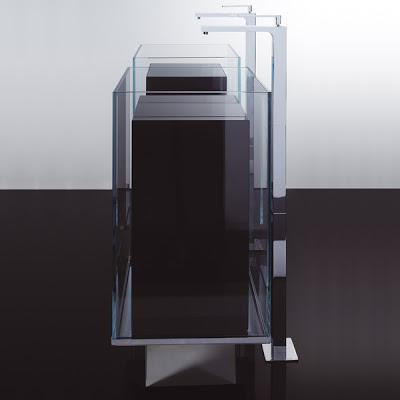 Night Minimalist Freestanding Sink In Tempered Glass By Cogliati