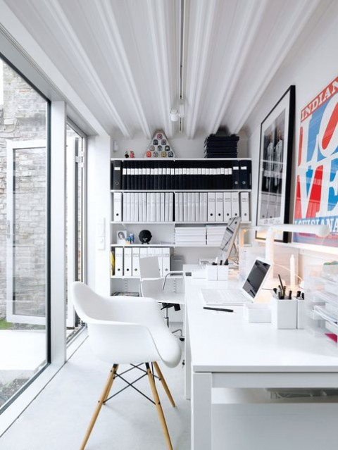 Office With White Furniture, & Storage