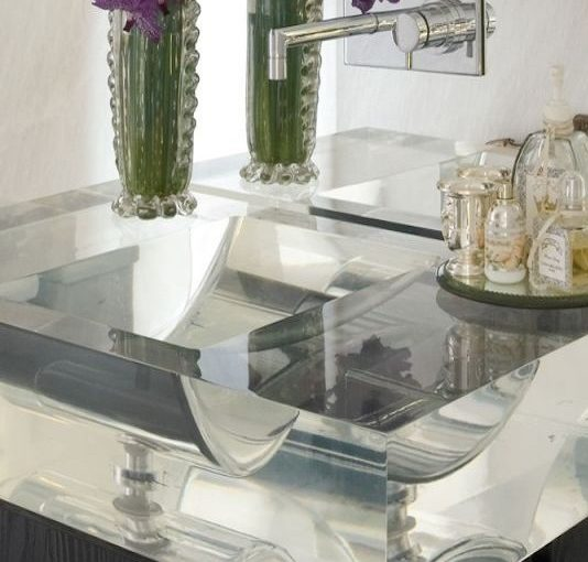 Clear Glass Counter & Built In Sink