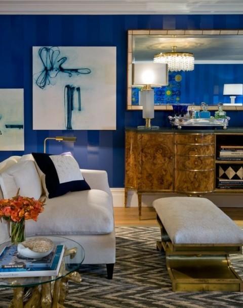 Gloss & Matt Blue Painted Walls With White Sofa