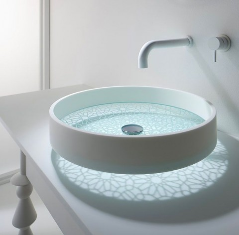 Ceramic Sink With Patterned Glass Base