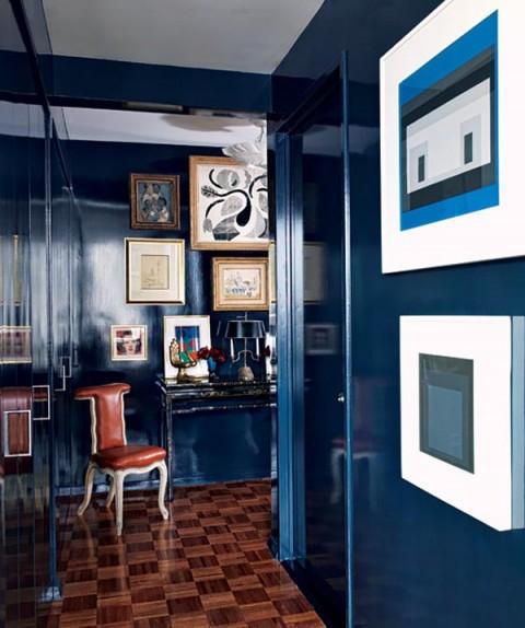 Designer Todd Alexander Romano's Blue Lacquered Manhattan Apartment