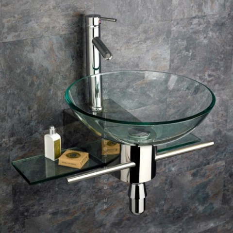 Padova Clear Glass Circular Wall Mounted Wash Basin With Mount Set